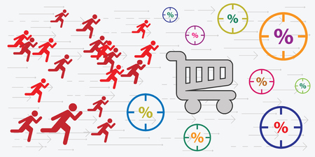 vector illustration of running people shopping basket for big sale and rush in market