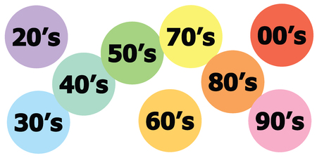 vector illustration of all years in colorful bubbles for last century trends including 70s and 1980s