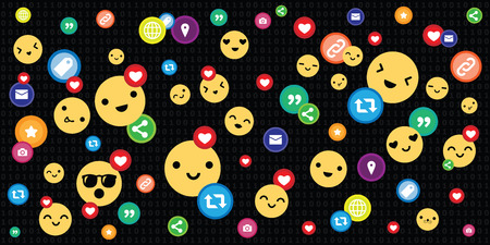 vector illustration of social media dark background with likes hearts smiles emoticons and other buttons Ilustração