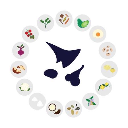 illustration vectorielle d'aliments équilibrant les hormones comme des protéines saines et des herbes adaptogènes
