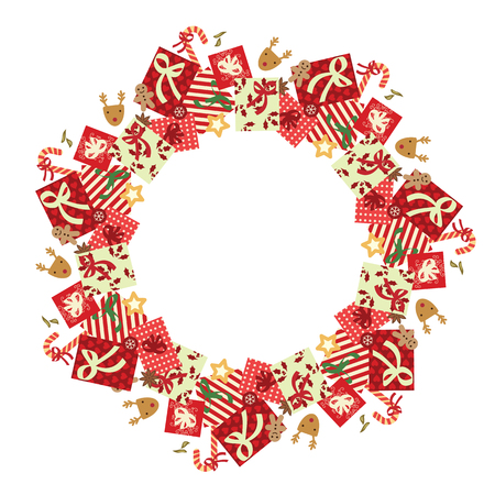 vector illustration of gifts and holiday decorative elements in circle shape with ribbons and decorative elements for Christmas parties and celebration greeting and invitation cards