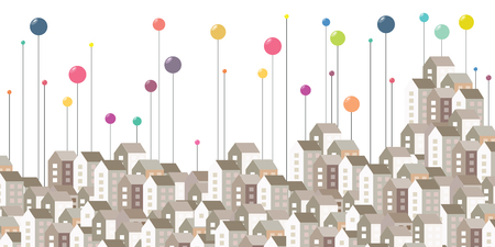 vector illustration for horizontal city buildings and colorful pins for urban information visualization concepts