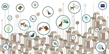 vector illustration for city buildings and colorful pins for urban information visualization concepts about animal care and pet services