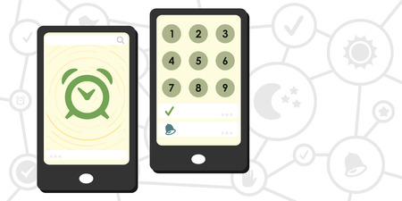 vector illustration of smart alarm on mobile phone device with code to snooze or turn it off Ilustração