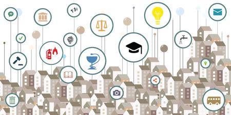 Vektorillustration von Symbolen des öffentlichen Dienstes und städtischen Gebäuden und bunten Stiften für intelligente Stadtinformationsvisualisierungskonzepte