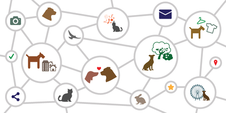 vector illustration for circles chart or schemes with animal care symbols and pet services network