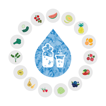 vector illustration of water containing foods like watermelon cucumber in chart design Vector Illustration