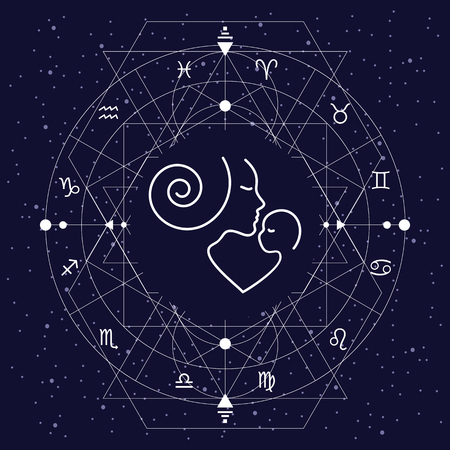 vector illustration of zodiac circle for children stylized with white signs on night cosmic sky background