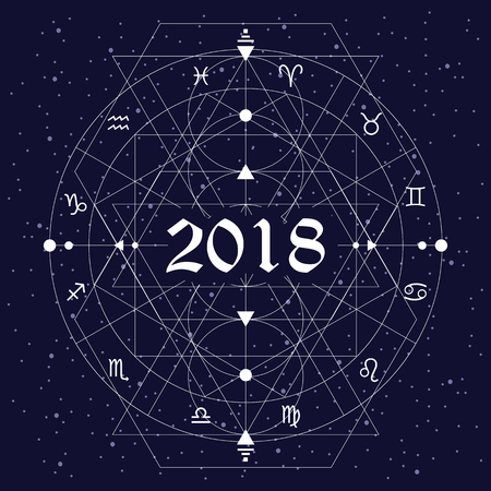 vector illustration of zodiac circle stylized as new year 2018 design with white thin lines on night sky background