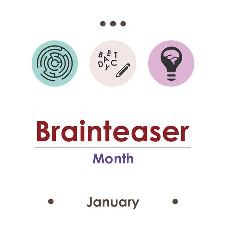 illustration vectorielle pour le mois de casse-tête janvier Vecteurs