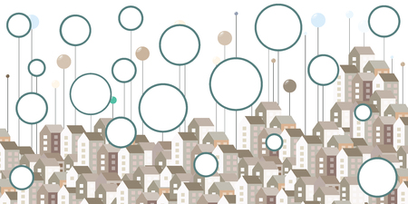 vector illustration for horizontal city buildings and empty round frames for urban information visualization concepts with free space for text