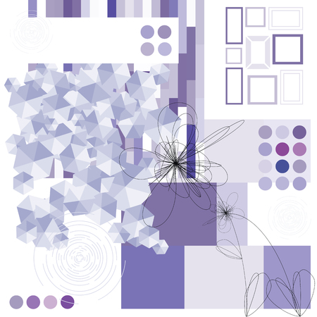 vector illustration for horizontal contemporary art concept and design items background in violet color scheme
