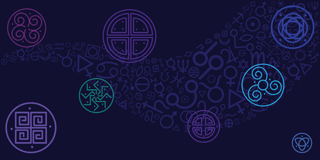 vector illustration of amulets and spiritual symbols on dark blue sky background for magical protection and luck Vektorové ilustrace