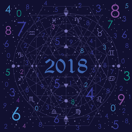vector illustration of numerology concept on night cosmic blue sky background with 2018 year title Ilustração