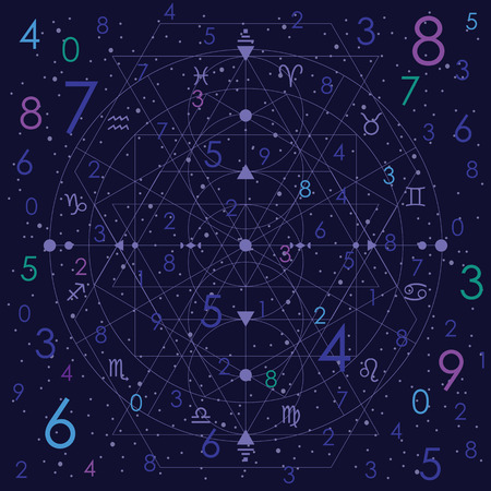 vector illustration of numerology concept on night cosmic blue sky background Standard-Bild - 117384518