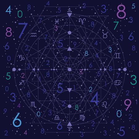 vector illustration of numerology concept on night cosmic blue sky background Foto de archivo - 117384518