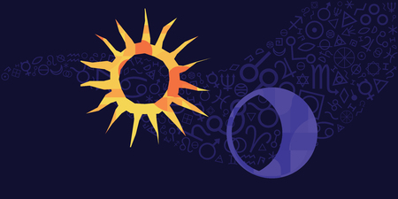 vector illustration of sun and moon amulets and spiritual symbols on dark blue sky background for magical protection and luck