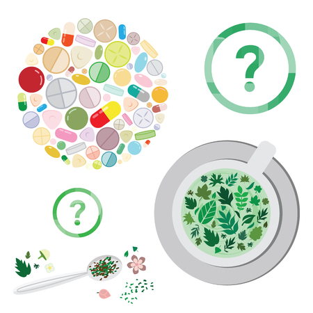 vector illustration of herbs and pills for medical treatment and pharmacy industry versus natural remedies concept