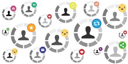 vector illustration of round loading bars and user icon inside for social media designs with emoji and likes