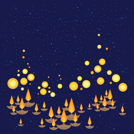 Ilustración vectorial de linternas de barcos de colores sobre fondo de noche oscura y espacio de copia para tarjetas de felicitación e invitación de celebración en estilo oriental decorativo