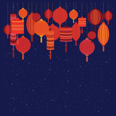 vector illustration of red lanterns on the dark blue sky background and copy space for celebration greeting and invitation cards in decorative Asian style