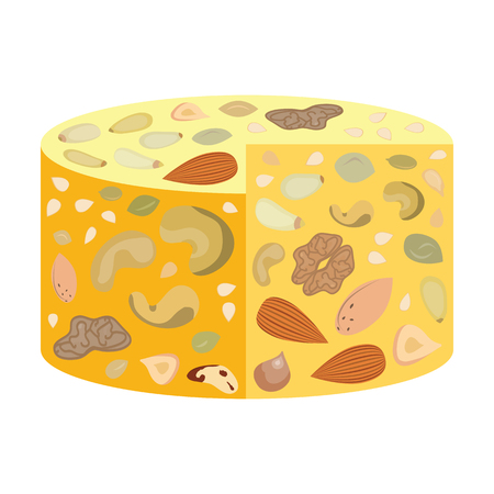 vector illustration of vegan cheese dairy free with different nuts
