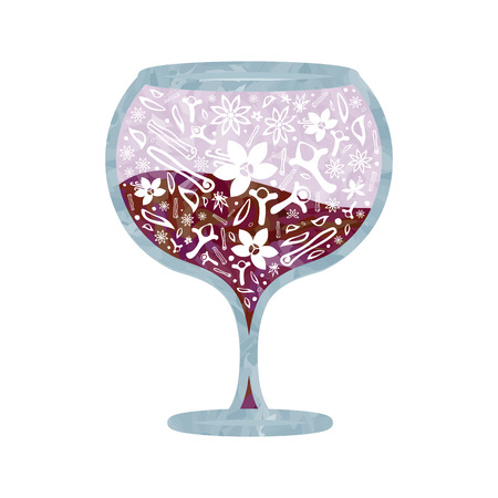 vector illustration for stylized mulled wine in a glass with spice mixture for decorative designs
