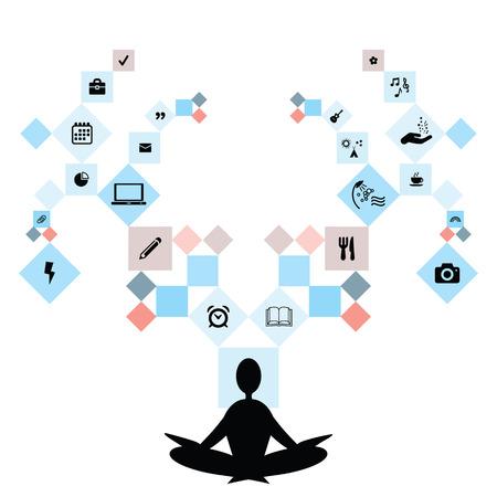 illustrazione vettoriale di meditare persona e simboli di vita e di lavoro su diversi rami che simboleggiano l'equilibrio