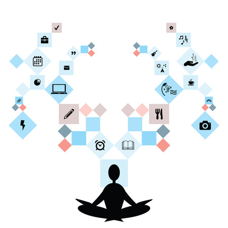 vector illustration of meditating person and life and work symbols on different branches symbolizing balance