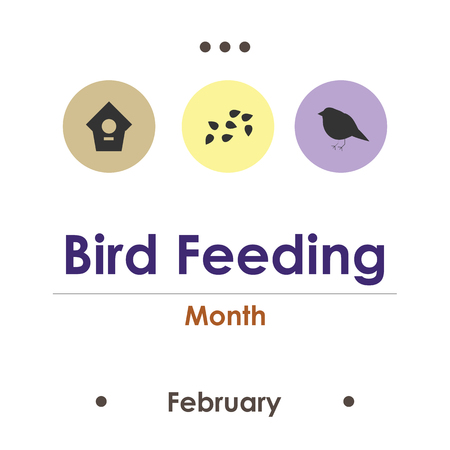 vector illustration for bird feeding month in February