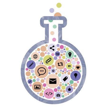 vector illustration of flask with internet media icons and blogging for digital laboratory concepts