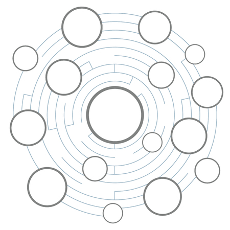 illustration vectorielle de labyrinthe avec des cadres vides de cercle rond pour un modèle de diagramme ou de graphique avec un espace libre pour le texte