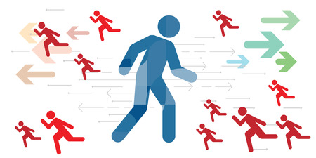 vector illustration of walking man and running people for direction decision and leader position concepts Illustration