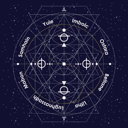 illustration vectorielle de la roue de l'année des fêtes païennes en tant que conception géométrique linéaire avec des lignes fines blanches sur fond de ciel nocturne avec des noms originaux Vecteurs