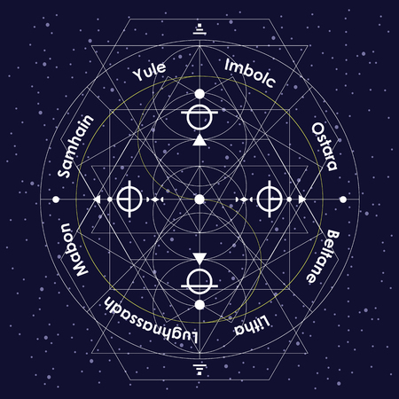 vector illustration of pagan holidays wheel of year as linear geometrical design with white thin lines on night sky background with original names