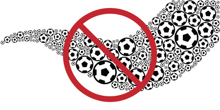 vector illustration of wave with soccer balls with restriction sigh for football bans and Vectores