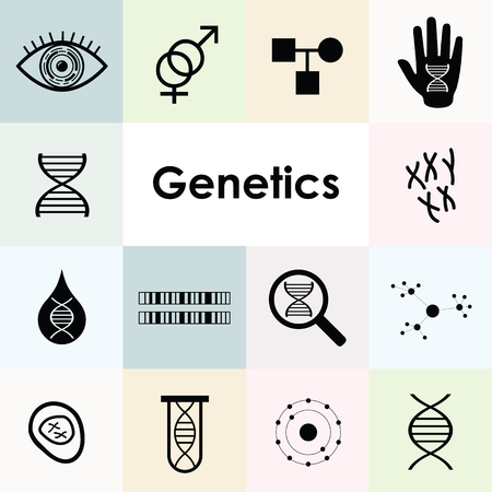 vector illustration of DNA and genetics icons set with cells and chromosomes