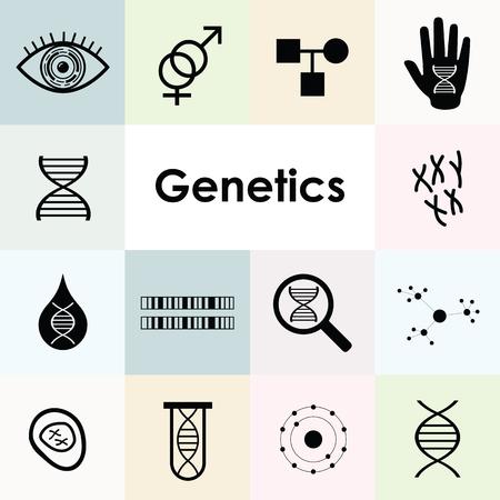 Vektor-Illustration von DNA- und Genetik-Icons mit Zellen und Chromosomen