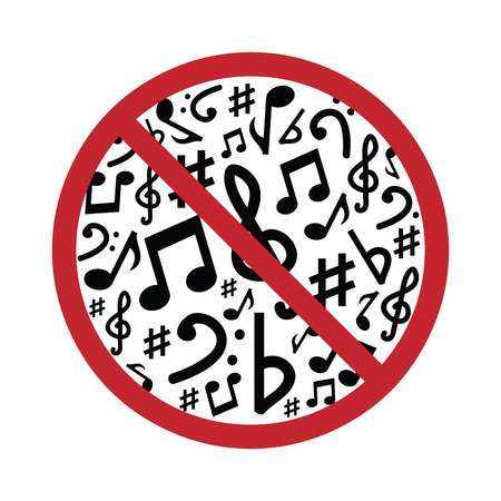 vector illustration of musical notes with restriction sign for silence or no loud sound warning visuals Illustration