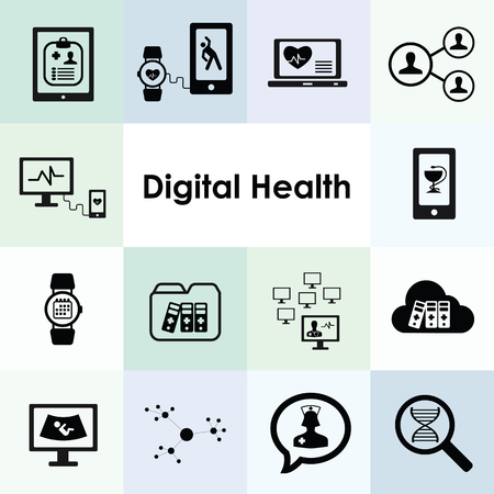 vector illustration of digital health icons set for integrated medical technologies concepts
