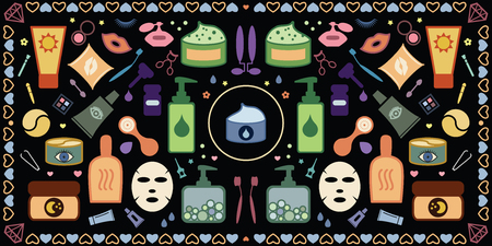 vector illustration of colored ions for skincare with cosmetic products and makeup tools in symmetrical abstract background Illustration