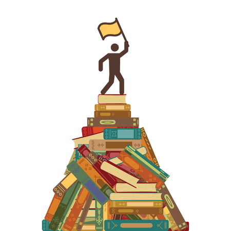 vector illustration of books mountain with a man with flag on the top for reading challenge and achievements