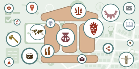 vector illustration of virtual museum symbol with interactive buttons with ancient tools and artefacts