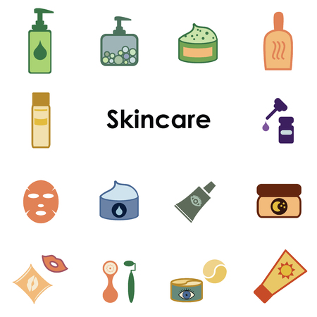 vector illustration of colored ions for skincare with cosmetic products and makeup tools