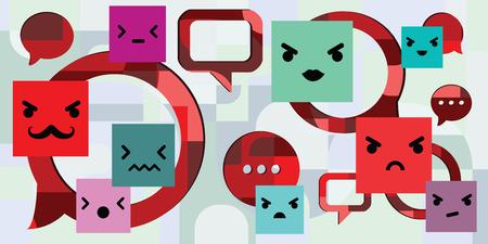 ilustración vectorial de quejas de los clientes y comentarios negativos con emoticonos de cara enojada Ilustración de vector