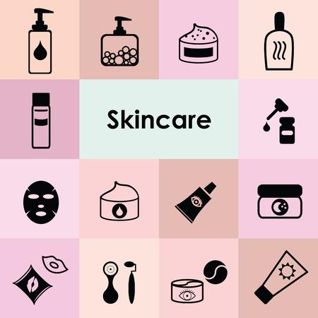 illustration vectorielle d'icônes monochromatiques pour les soins de la peau avec des produits cosmétiques et des outils de maquillage Vecteurs