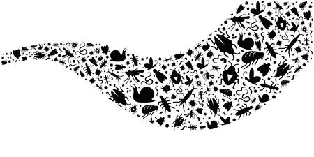 Ilustración vectorial de diferentes bichos e insectos en forma de onda para diseños horizontales