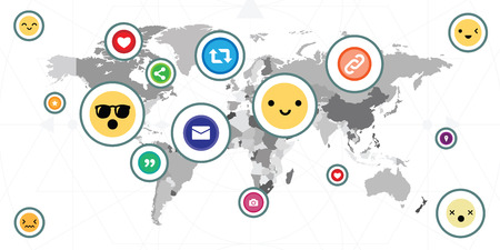 vector illustration of social media world map with likes hearts smiles emoticons and other buttons