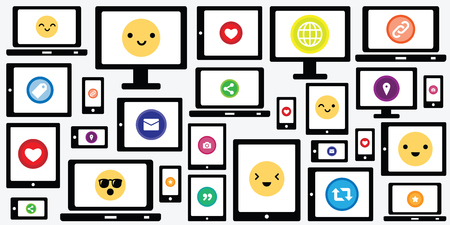 vector illustration of various screens and devices with emoticons faces and buttons for social media and digital communication visuals Vector Illustratie
