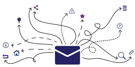 vector illustration of envelope icon and different arrows for mail sorting extensions
